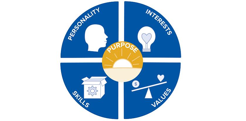 personality, skills, interest, values, purpose