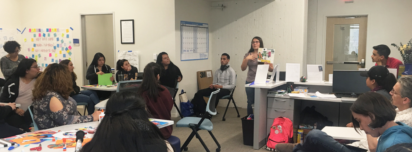 Group of students inside the Chicanx/Latinx Student Success Center